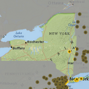 Location of current Solar Power plants in NYS